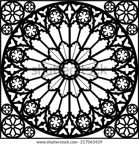 Silhouette Rose Window Gothic Vector Illustration