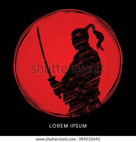 Silhouette Samurai, Ready to fight designed on sunlight background graphic vector - stock vector