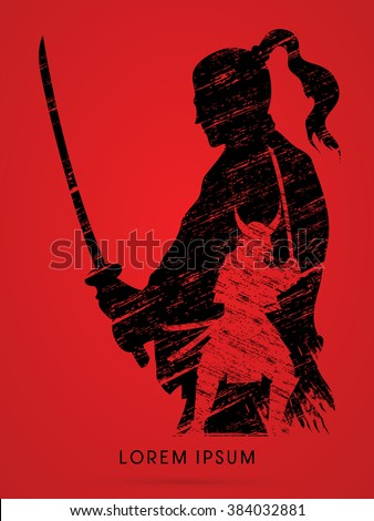 Silhouette Samurai, Ready to fight designed using grunge brush graphic vector - stock vector