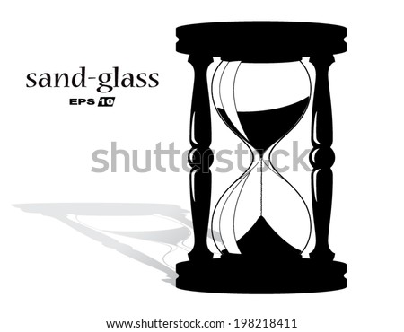 silhouette sand glass /vector illustration eps10