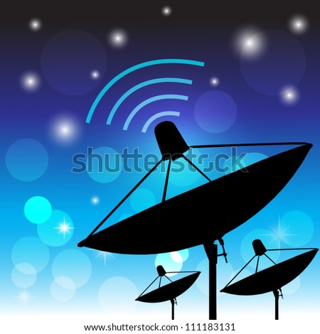 Silhouette satellite on blue background. Communication and technology. Vector illustration - stock vector