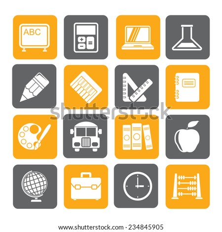 Silhouette School and education icons - vector icon set - stock vector