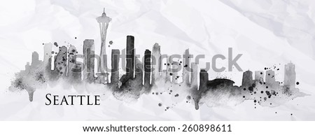 Silhouette Seattle neighborhood painted with splashes of ink drops streaks landmarks drawing in black ink on crumpled paper - stock vector