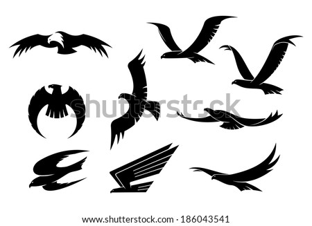 Silhouette set of flying eagles, hawks, falcons and another birds logo for heraldry or mascot design - stock vector