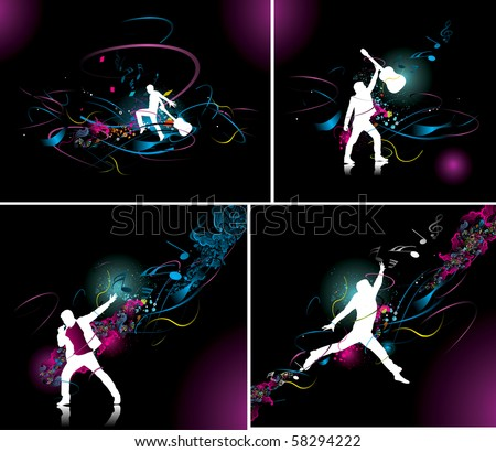 silhouette set of jumping men with music wave , no mesh and no flattened transparencies in this vector.