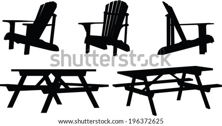 Silhouette set of outdoor picnic tables and chairs. - stock vector