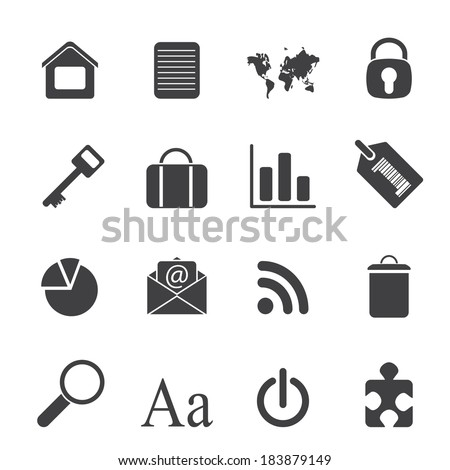 Silhouette Simple Business and Internet Icons - Vector Icon Set