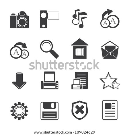 Silhouette Simple Internet and Website Icons - Vector Icon Set - stock vector
