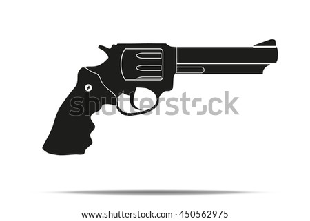 Silhouette simple symbol of revolver. Realistic Editable Vector Illustration isolated on white background. - stock vector