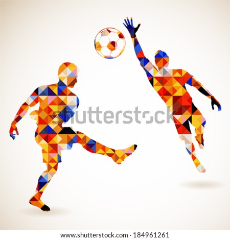 Silhouette Soccer Player and Goalkeeper in Mosaic Pattern, vector illustration - stock vector