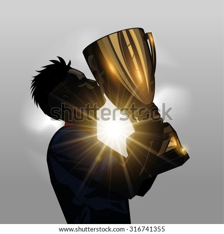 Silhouette soccer player kissing gold trophy with gray background - stock vector