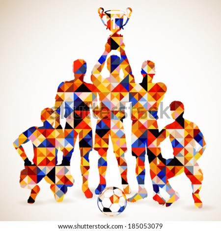 Silhouette Soccer Players and Ball in Mosaic Pattern, vector illustration - stock vector