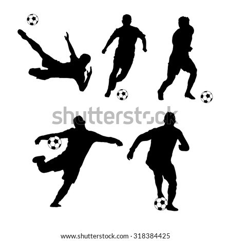 Silhouette soccer players hitting the ball.Vector