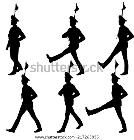 Silhouette soldiers during a military parade. Vector illustration - stock vector
