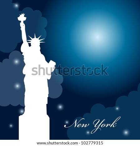 silhouette statue of liberty at night with moon. vector illustration - stock vector