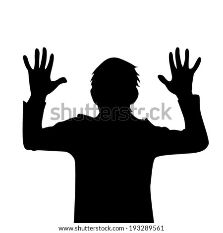 silhouette stop. hands up. Vector - stock vector