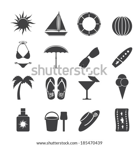Silhouette Summer and Holiday Icons - Vector Icon Set - stock vector