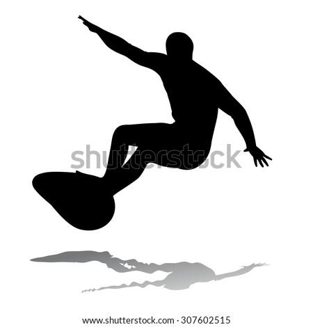 Surfer Silhouette Girl Clip Art