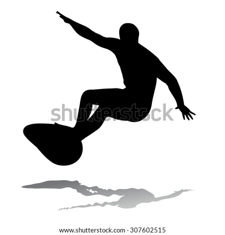 silhouette surfer man on surfboard, white background  - stock vector