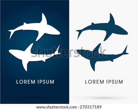Silhouette, Swimming Shark, sign ,logo, symbol, icon, graphic, vector. - stock vector