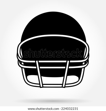 Silhouette symbol of American football helmet. Simple Vector sport illustration Isolated on background. - stock vector
