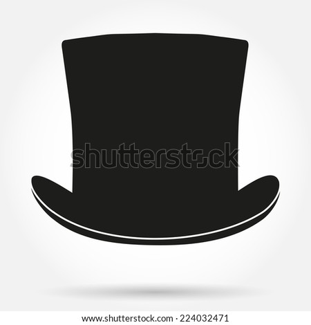 Silhouette symbol of black gentleman hat cylinder. Simple Vector Illustration isolated on white background. - stock vector