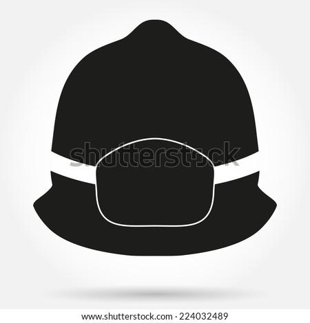 Silhouette symbol of firefighter helmet. Simple vector illustration Isolated on white - stock vector