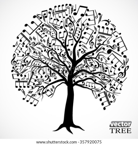 silhouette tree with music notes / vector illustration