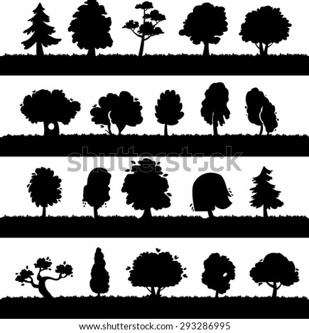 Silhouette trees collection