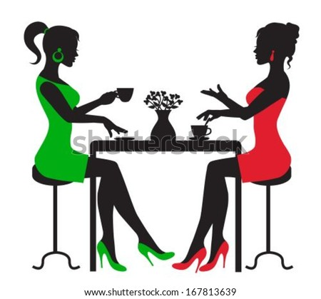 silhouette two women drinking coffee at a table on a white background  - stock vector