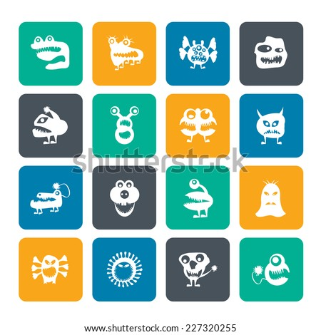 Silhouette various abstract monsters illustration - vector icon set - stock vector