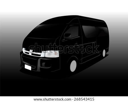 Silhouette vector car cartoon, cargo van - stock vector