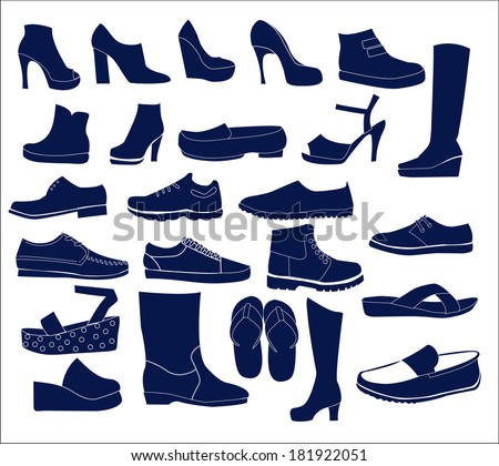 Silhouette vector icon set of men's  and of women's shoes fashion  Footwear - stock vector