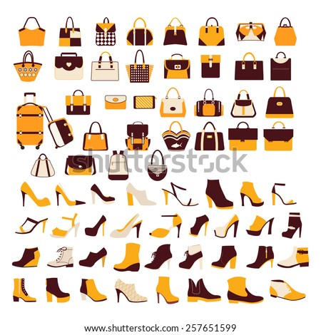 Silhouette vector icon set of men's  and of women's shoes fashion Footwear and bags. Collection of fashion accessories  - Illustration   - stock vector