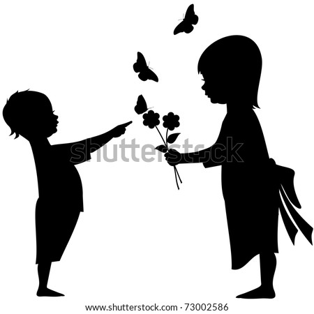 Silhouette vector illustration of an infant with a young girl offering flowers with butterflies - stock vector