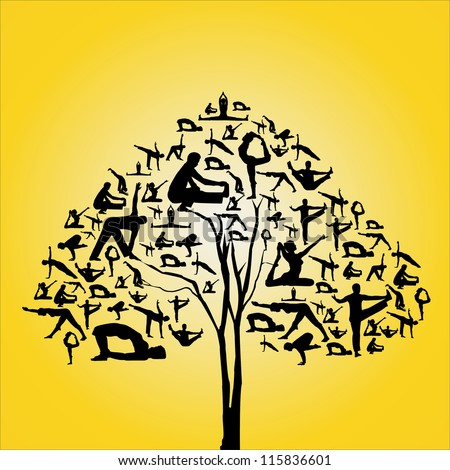 Silhouette vector of yoga collections in the shape of tree. - stock vector