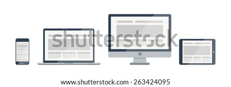Silhouette vector responsive web design illustration. Modern electronic devices icons and combinations.  - stock vector