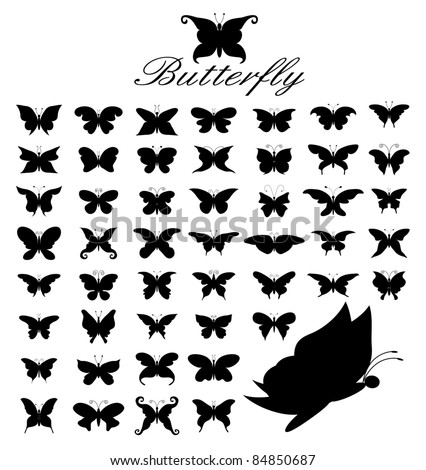 Silhouette Vector set of 50 butterflies. - stock vector