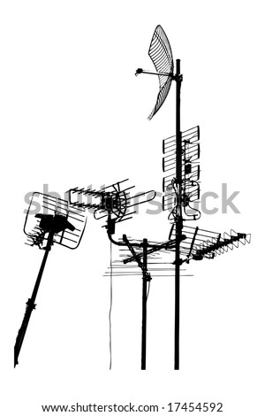 silhouette vector trace of television rooftop antennas - stock vector