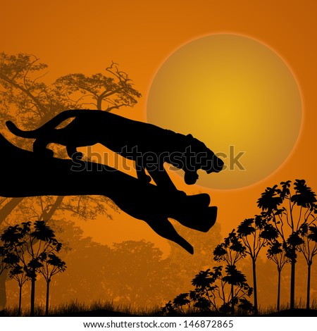 Silhouette view of tiger on a tree at beautiful sunset, vector illustration - stock vector