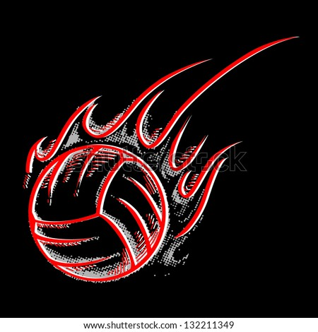 Silhouette volleyball ball with flame - stock vector