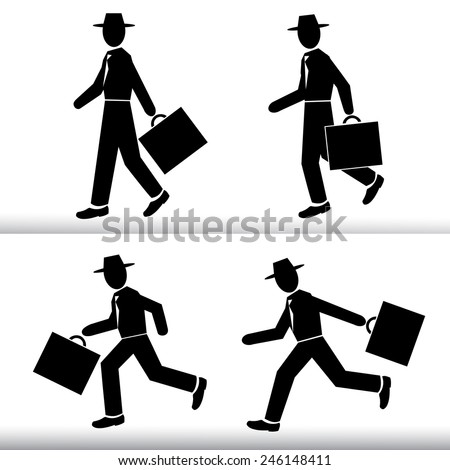 Silhouette walking and running Businessman.  Men wearing a hat with a suitcase in hand - Vector set - stock vector