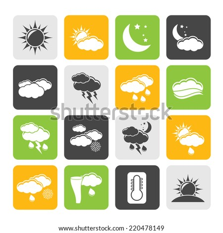 Silhouette Weather and meteorology icons - vector icon set - stock vector