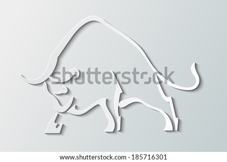 Silhouette wild bull on a gray background - stock vector