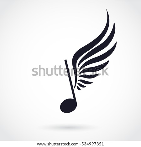 silhouette winged note music symbol