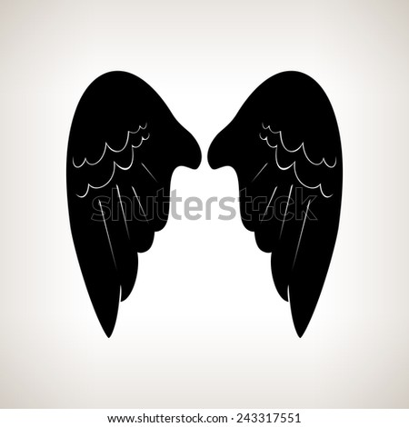 Silhouette wings on a light background,black and white vector illustration