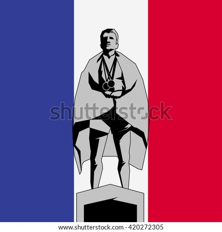 Silhouette winner on the podium with flag France - stock vector