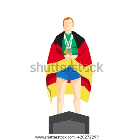 Silhouette winner on the podium with flag Germany - stock vector