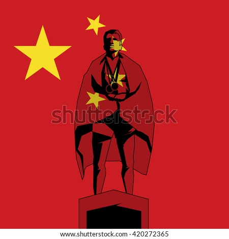 Silhouette winner on the podium with flag People's Republic of China - stock vector