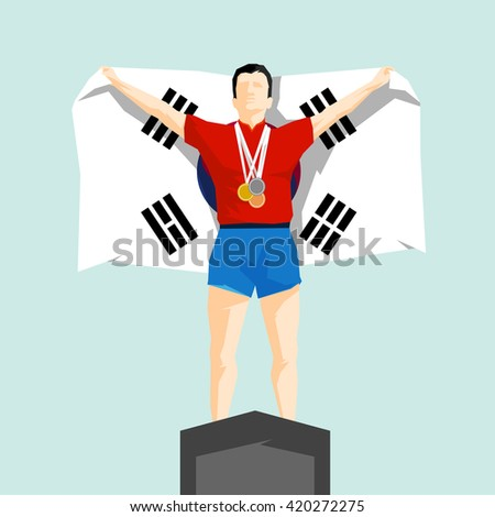 Silhouette winner on the podium with flag South Korea - stock vector